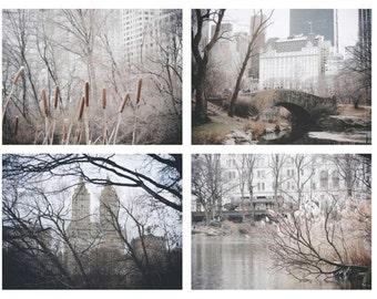 New York Central Park Photographs Set - Winter Central Park - Architecture - Romantic - Urban Decor - New York City - New York Photograph
