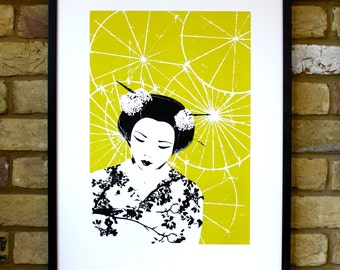 Japanese print, 50 x 70 print, limited edition screen print, geisha print, Japanese geisha art, chartreuse art, contemporary art print