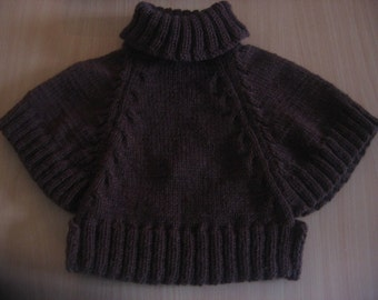 sale 20% Toddler Knit Brown Poncho. Wool Poncho. For 1.5 - 2 years. Free shipping