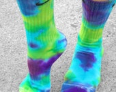 Purple Haze Tie Dye Nike Socks, custom tie dye socks, Purple, Lime, turquoise. , st. Patricks day, accessories, school, fun,sports team,gift