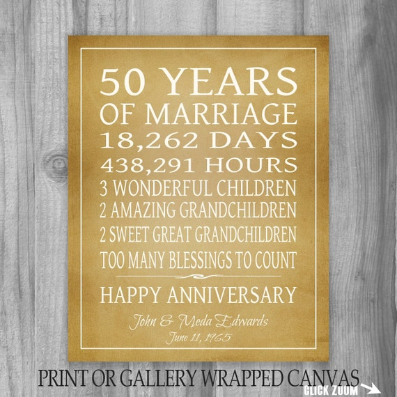 Golden Anniversary Gift Grandparents 50th Anniversary Gift 50 Years ...