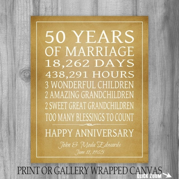 List Of 50th Wedding Anniversary Gifts : Golden Anniversary Gift Grandparents 50th Anniversary Gift 50 Years ...