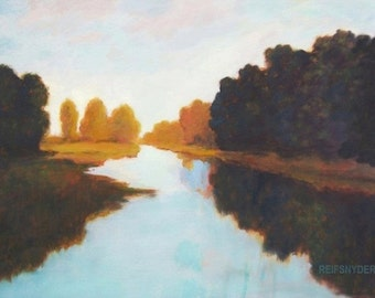 Large Original Oil River Painting 36x48 landscape art, river scene, water, aqua, blue, green, gold, dark row of trees, stream, sky country,
