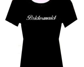 Rhinestone Bridesmaid Wedding TShirt Blacks Size:Large  bridal party Free Shipping