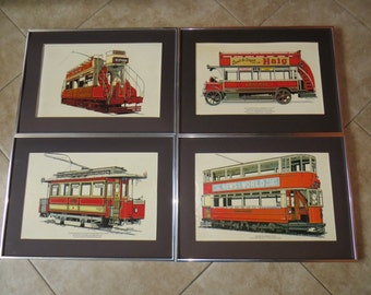 Ding Ding Ding Went the Trolley....Cool Lot of 4 Vintage 1800-1920 Trolley Cable Car Lithographs