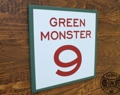 "14"" Painted Wood Green Monster Section Sign."