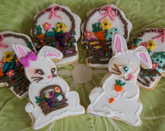 One dozen vintage Easter bunnies and baskets