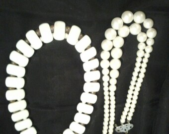 2 Vintage Bakelite?  Necklaces from Japan.  Both are white.