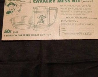 1956 Official Coupon for Official Rin Tin Tin Cavalry Mess Kit Nabisco Shredded Wheat.