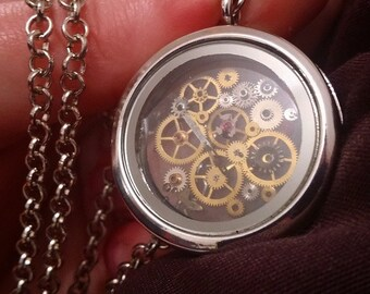 SALE! Floating steampunk locket necklace, made to order