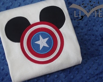 Captain America - Marvel Super Heroes with Mickey Mouse Ears Appliquéd Shirts -- Disney Family Vacation Shirts