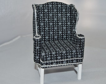 OOAK Beautiful Black and White Printed Fabric Upholstered on a 1/12th Scale Chippendale Chair Would Look Good in Any Dollhouse