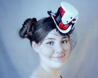 Black White Red Mini Top Hat, Veil, Mad Hatter Hat, Fascinator, Mini Hat, Top Hat, Mini Hats, Tea Party Hat, Wedding Hat, Women Top Hat