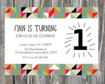 Modern First Birthday Party Invite -  Digital Download
