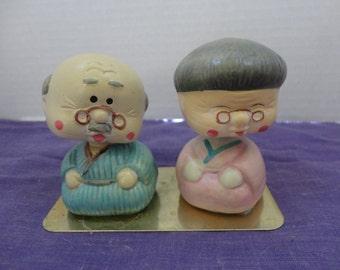 Asian Grandma and Grandpa Figurine BOBBLE HEADS - Bisque Oreintal Bobble Head Couple