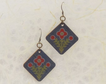 Red Flower Blue Eco Friendly Birch Wood Earrings