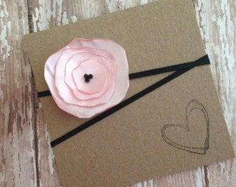 Pink Satin Poppy Flower Headband, Pink Flower, Baby Headband