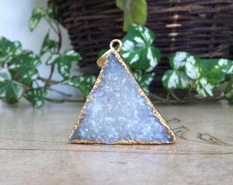 Large Gold & White Triangular Druzy Pendant