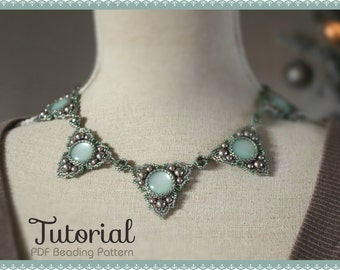 Beading tutorial 'Trinity' - DIY beading pattern - beaded necklace triangle ornament components with cabochon