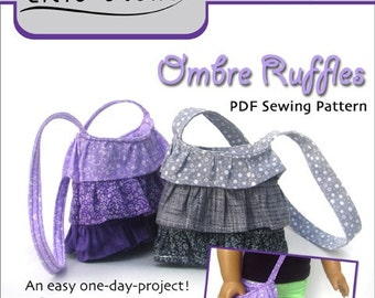 Pixie Faire Lilie Stone Ombre Ruffles Purse Doll Clothes Pattern for 18 inch American Girl Dolls - PDF
