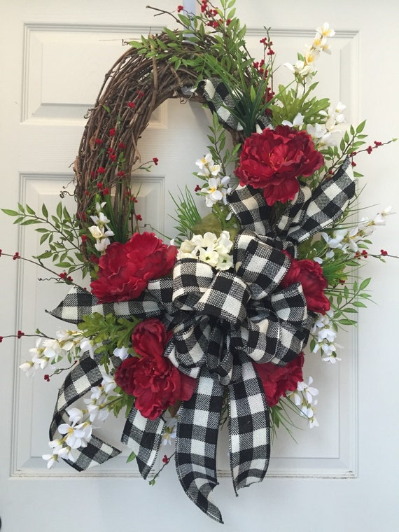 Oval Grapevine Black And Cream Summer Everyday Wreath