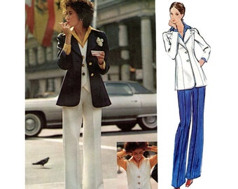 1970s VOGUE 2681 PANTSUIT PATTERN Jacket Pants Vest & Shirt Pattern Galitzine Vogue Couturier Bust 34 UNCuT Vintage Womens Sewing Patterns