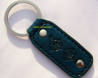 Leather Key Ring / Key Fob - Antique Floral Paisley - Turquoise