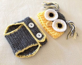 Baby Butterscotch, True Grey Owl Hat & Diaper Cover Set - 0 to 3 Months, 3 to 6 Months, 6 to 12 Month - Animal, Hoot, Woodland