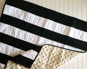 Black and White Gold Stripe Baby Quilt- Gold Polka Dot and Stripe Quilt- Modern Baby Quilt- Glitz Gender Neutral Quilt