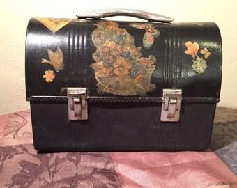 Vintage Decoupage Folk Art Domed Metal Lunch Box