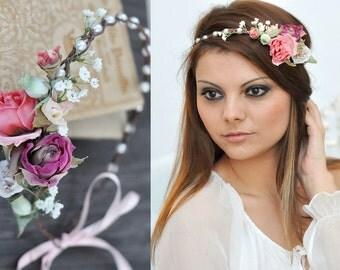 Flower Crown, Wedding Tiara, Wedding accessories, Bridal flowers, Fairy Crown,Floral garland, Festival or Bridal Hair Wreath, Hair Flowers