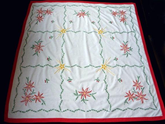 Christmas swedish vintage big white square tablecloth for 12 days of christmas table cloth