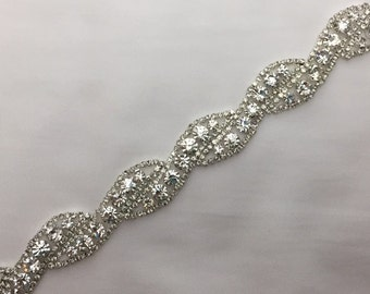 Beautiful Silver Rhinestone Crystal Trim Bridal Sash Headpiece