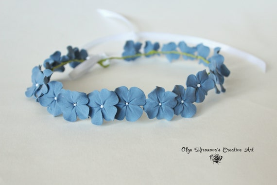 staubige blaue hortensie braut krone floral tiara braut. Black Bedroom Furniture Sets. Home Design Ideas