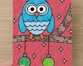 Owl Sitting on a Branch Christmas Card