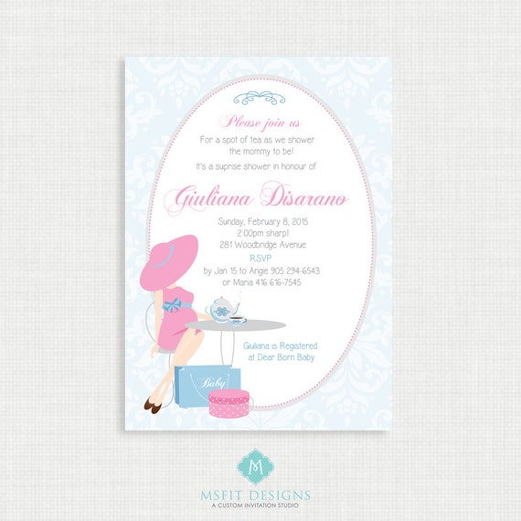 Printable Baby Shower Invitation- Tea Party Baby Shower Invitation, Unisex, Digital, Printable Template DIY