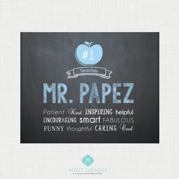 Teacher Gift - #1 Teacher Chalkboard Style Printable Digital File Male Teacher 8x10 JPG File