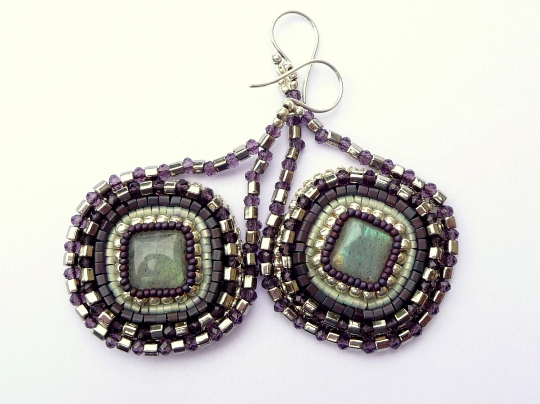 Labradorite bead embroidered geometric teardrop by awenjewelry