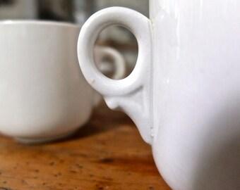 Retro kitchen diner mugs / restaurant ware / coffee cups / white