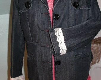 Lightweight Denim Jacket Upcycled Altered Baccini XL One of a kind ready to ship