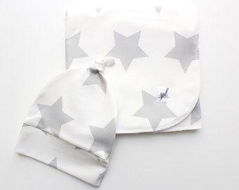 Organic Swaddling Blanket- White with Grey Stars