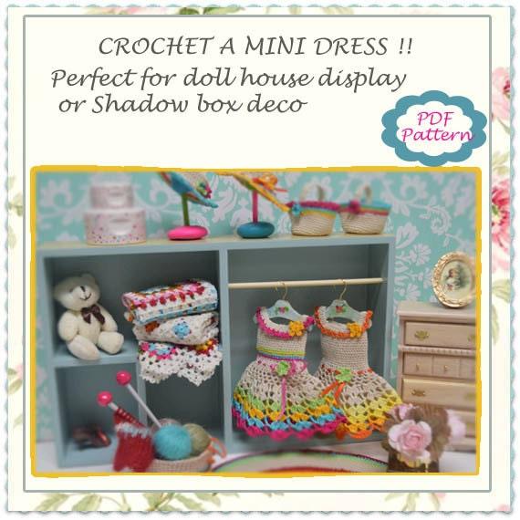 PATTERN , Miniature crochet dress pattern, Doll house ...