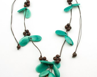 Butterfly Aqua Tagua/ Brown Acai Necklaces