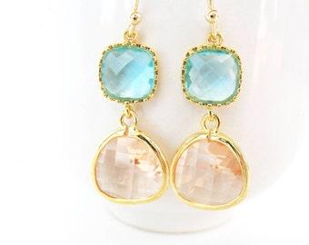Aquamarine and peach earrings Champagne and aqua blue earrings Teal and blush glass earrings peach bridesmaids gold peach earrings gold aqua