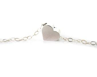 Silver Heart Bracelet Sterling Silver Bracelet Tiny Heart Bracelet Heart Bridesmaid Gift Bridesmaid Bracelet Glossy Heart Bracelet