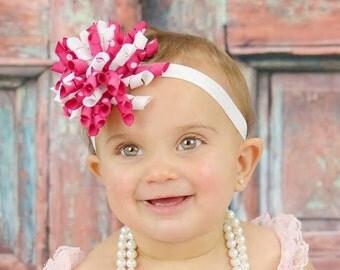 Valentines Day Headband, Pink Headband, Korker Headband, Flower Headband, Newborn Headband, Pink and White Headband, Easter Headband, korker