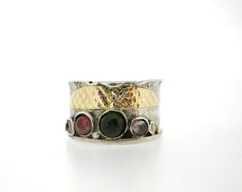 Christmas sale, Handcrafted Silver & Gold Ring, Semi Precious Tourmaline stones
