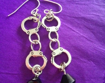 50 shades inspired stainless handcuff earrings with choice of Swarovski crystal grey steel