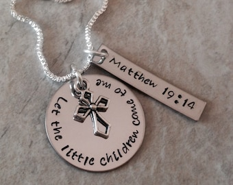 Let the little children come to me Matthew 19:14 sunday school teacher gift personalized monogrammed necklace teacher appreciation