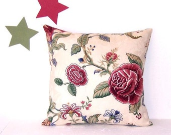 "Maroon Cream Floral Waverly Pillow Cover, 18"" x 18"" Decorative Pillow, Green Blue Decorator Sofa Accent Pillow"